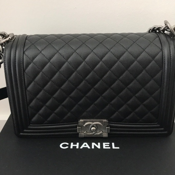 529f0b48cfa61b CHANEL Bags | Authentic Boy Bag Black Caviar Leather | Poshmark